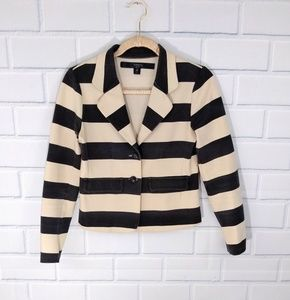 Kensie Navy/Cream Striped Knit Blazer